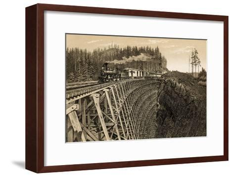 Island Railway Crossing Arbutus Canyon, British Columbia, 1800s--Framed Art Print