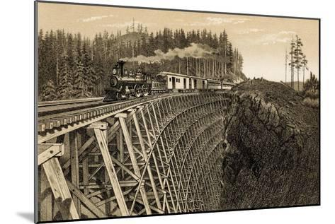 Island Railway Crossing Arbutus Canyon, British Columbia, 1800s--Mounted Photographic Print