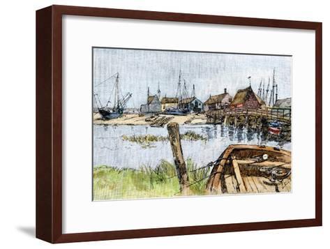 Old Wharves in Wellfleet, Cape Cod, 1880s--Framed Art Print