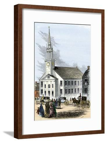 Carriages on the Street by Old South Church in Newburyport, Massachusetts, 1850s--Framed Art Print