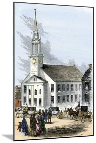 Carriages on the Street by Old South Church in Newburyport, Massachusetts, 1850s--Mounted Photographic Print