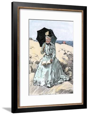 Chaperone Discreetly Reading a Book at the Beach, Circa 1900--Framed Art Print