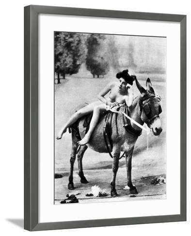 Nude And Donkey, C1900--Framed Art Print