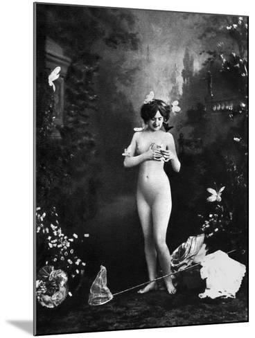 Nude And Butterflies, C1900--Mounted Photographic Print