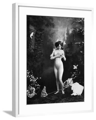 Nude And Butterflies, C1900--Framed Art Print