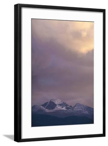 Clouds Lit by Setting Sun Above Rocky Mountains Ridge-Anna Miller-Framed Art Print