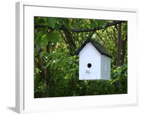 White Birdhouse-Anna Miller-Framed Art Print