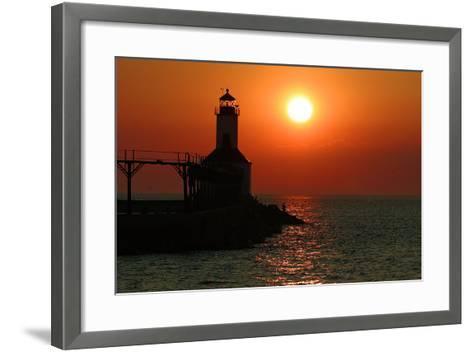 Indiana Dunes lighthouse at sunset, Indiana Dunes, Indiana, USA-Anna Miller-Framed Art Print