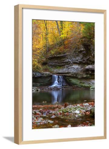 Autumn waterfall in McCormics Creek State Park, Indiana, USA-Anna Miller-Framed Art Print