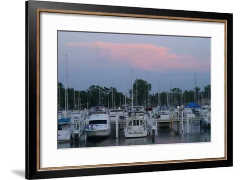 Boat docks at sunset, Indiana Dunes, Indiana, USA-Anna Miller-Framed Art Print