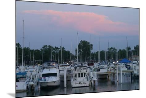 Boat docks at sunset, Indiana Dunes, Indiana, USA-Anna Miller-Mounted Photographic Print
