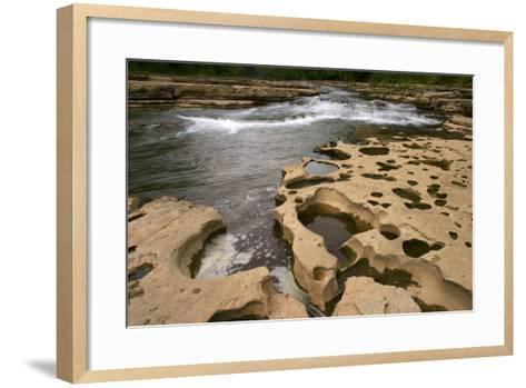 Rock carved by creek waters, Cataract Falls State Park, Indiana, USA-Anna Miller-Framed Art Print