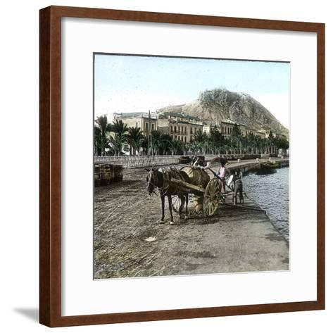 Alicante (Spain), Cistern on the Seaside and View of the Hill of Fort Santa Barbara-Leon, Levy et Fils-Framed Art Print