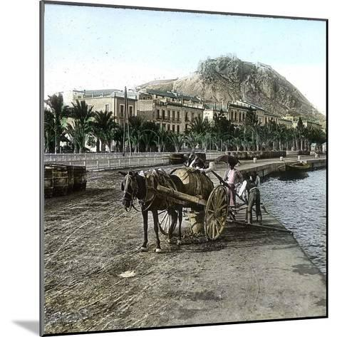 Alicante (Spain), Cistern on the Seaside and View of the Hill of Fort Santa Barbara-Leon, Levy et Fils-Mounted Photographic Print