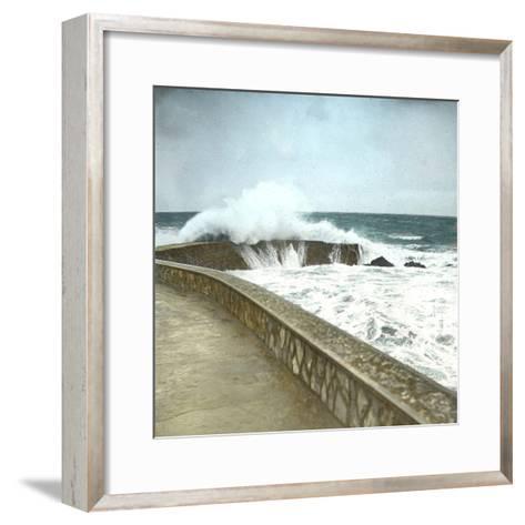 Biarritz (Atlantic-Pyrennes, France), Effects of the Sea-Leon, Levy et Fils-Framed Art Print