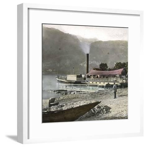 Boats on Lake Brienz (Switzerland), Circa 1865-Leon, Levy et Fils-Framed Art Print