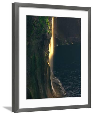 Water Falls at Sunset--Framed Art Print