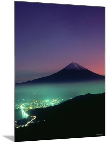 Mt. Fuji and City Lights, Viewed from Mitsu Tohge, Yamanashi, Japan--Mounted Photographic Print