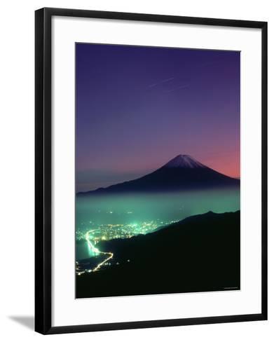 Mt. Fuji and City Lights, Viewed from Mitsu Tohge, Yamanashi, Japan--Framed Art Print