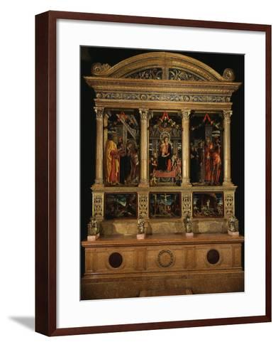 Altarpiece of Saint Zeno, with Saints Peter, Paul, John the Evangelist, Zeno-Andrea Mantegna-Framed Art Print
