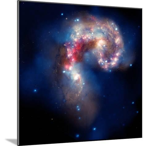 Composite Image of Antennae Galaxies - Interstellar Gas with Elements from Supernova Explosions--Mounted Photographic Print
