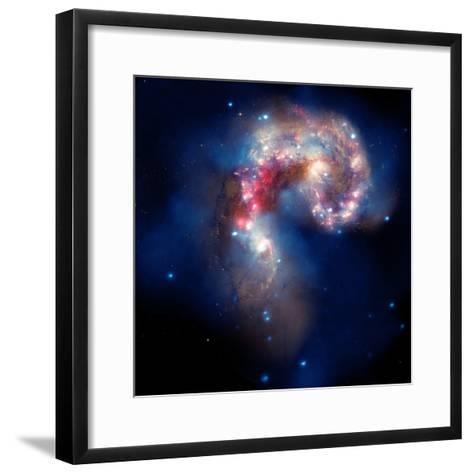 Composite Image of Antennae Galaxies - Interstellar Gas with Elements from Supernova Explosions--Framed Art Print