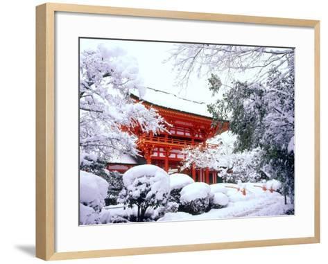 Kamigamo Shrine in Snow, Kyoto, Japan--Framed Art Print