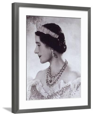 Portrait with Tiara of Her Majesty Queen Elizabeth, the Queen Mother-Cecil Beaton-Framed Art Print