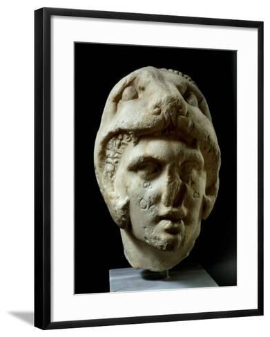 Alexander the Great 356-323 BC, Pentelic Marble Head Wearing Lion Head Helmet--Framed Art Print