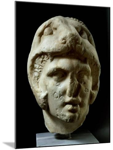 Alexander the Great 356-323 BC, Pentelic Marble Head Wearing Lion Head Helmet--Mounted Photographic Print