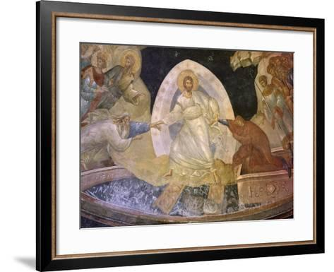 Christ Helping Adam and Eve from their Tomb, Flanked by Saint John the Baptist and Abel--Framed Art Print