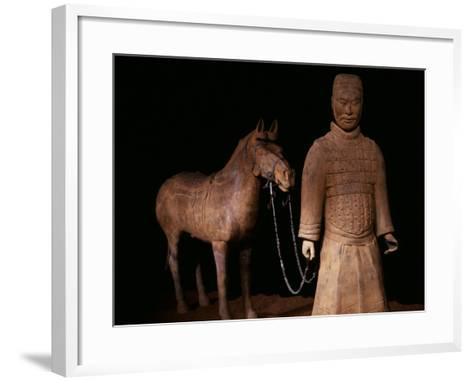 Standing Warrior Wearing Breastplate, with Chariot Horse--Framed Art Print