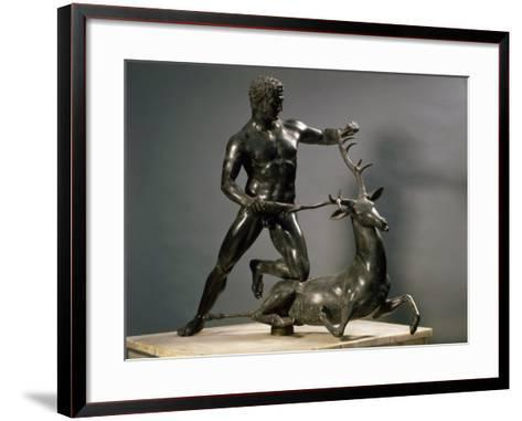 Herakles Wrestling the Hind of Ceryneia, One of his Twelve Labours, Bronze--Framed Art Print