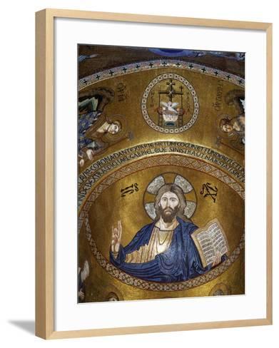 Christ Pantocrator, Palatine chapel, Palazzo dei Normanii or Palazzo Reale, Palermo, Sicily--Framed Art Print