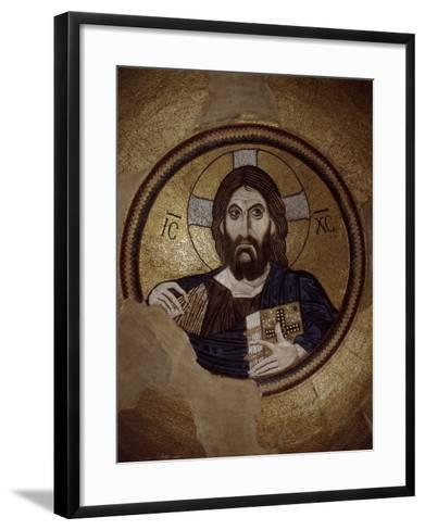Christ Pantocrator, Mosaic, Cupola, Daphni Monastery, late 11th century Byzantine, Greece--Framed Art Print