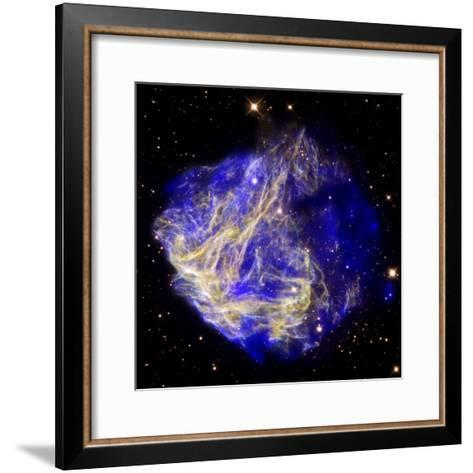 Composite Image of Data from Chandra and Hubble, Depicts Scene of a Supernova Explosion's Aftermath--Framed Art Print
