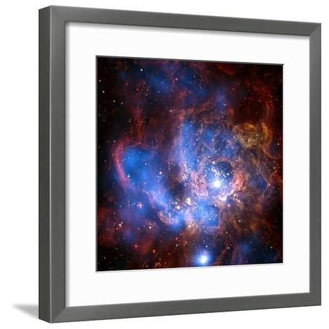 Composite Image from Chandra and Hubble Data, Divided Neighborhood of Some 200 Hot, Young Stars--Framed Art Print