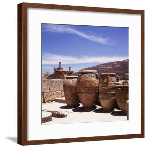 Greece: Carved Stone Pots on Archaeological Site, Knossos, Aegean Island of Crete--Framed Art Print