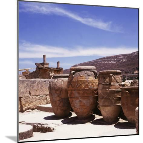 Greece: Carved Stone Pots on Archaeological Site, Knossos, Aegean Island of Crete--Mounted Photographic Print
