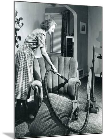 Homemaker Vacuuming, USA, 1950--Mounted Photographic Print