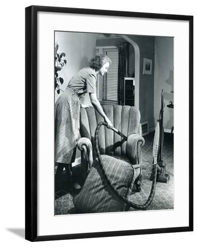 Homemaker Vacuuming, USA, 1950--Framed Art Print