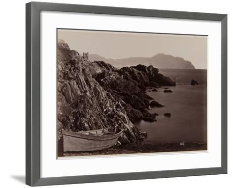 Genova: Fishing Boat on the Beach of Nevi, 1870-80-August Alfred Noack-Framed Art Print