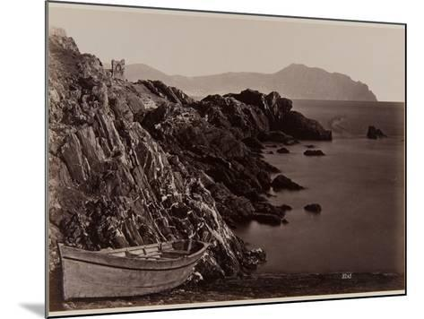 Genova: Fishing Boat on the Beach of Nevi, 1870-80-August Alfred Noack-Mounted Photographic Print
