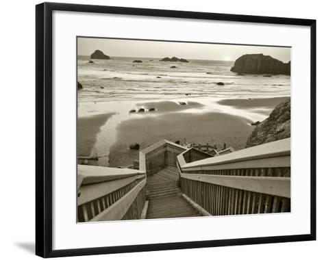 Pathway to Beach - Sepia-Dennis Frates-Framed Art Print