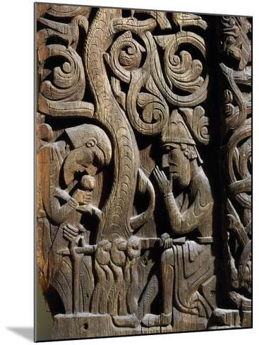 Nordic Saga or Legend of Siegfried or Sigurd, 12th century wood panel from Setesdale Church Norway--Mounted Photographic Print