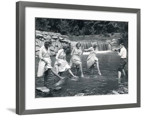 Four Models Kicking Water, 1958--Framed Art Print