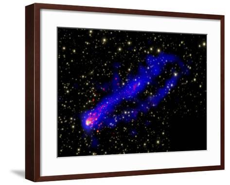 Composite Image, Two Tails Stretching Behind a Galaxy as it Travels Through a Galaxy Cluster--Framed Art Print