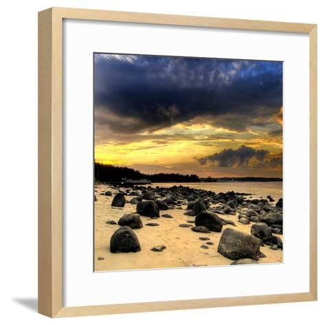 Rocks on Beach--Framed Art Print