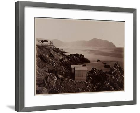 Fisherman's Cottages on the Beach of Nervi, 1870-80-August Alfred Noack-Framed Art Print