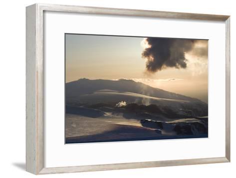Plume of Ash from Eyjafjallajokull Volcano, Silhouetted Against Sunset, Southern Iceland-Natalie Tepper-Framed Art Print